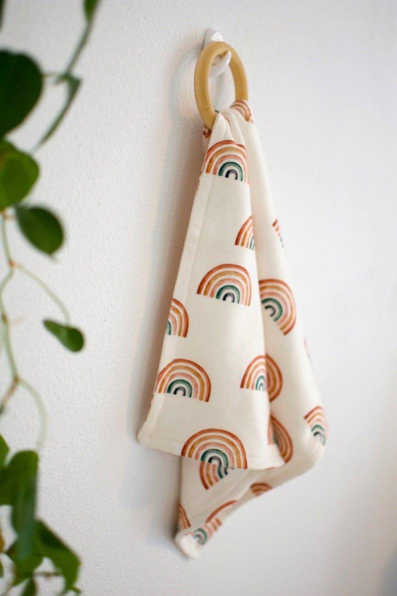 Organic Wooden Teether Lovey / Security Blanket / Rainbows