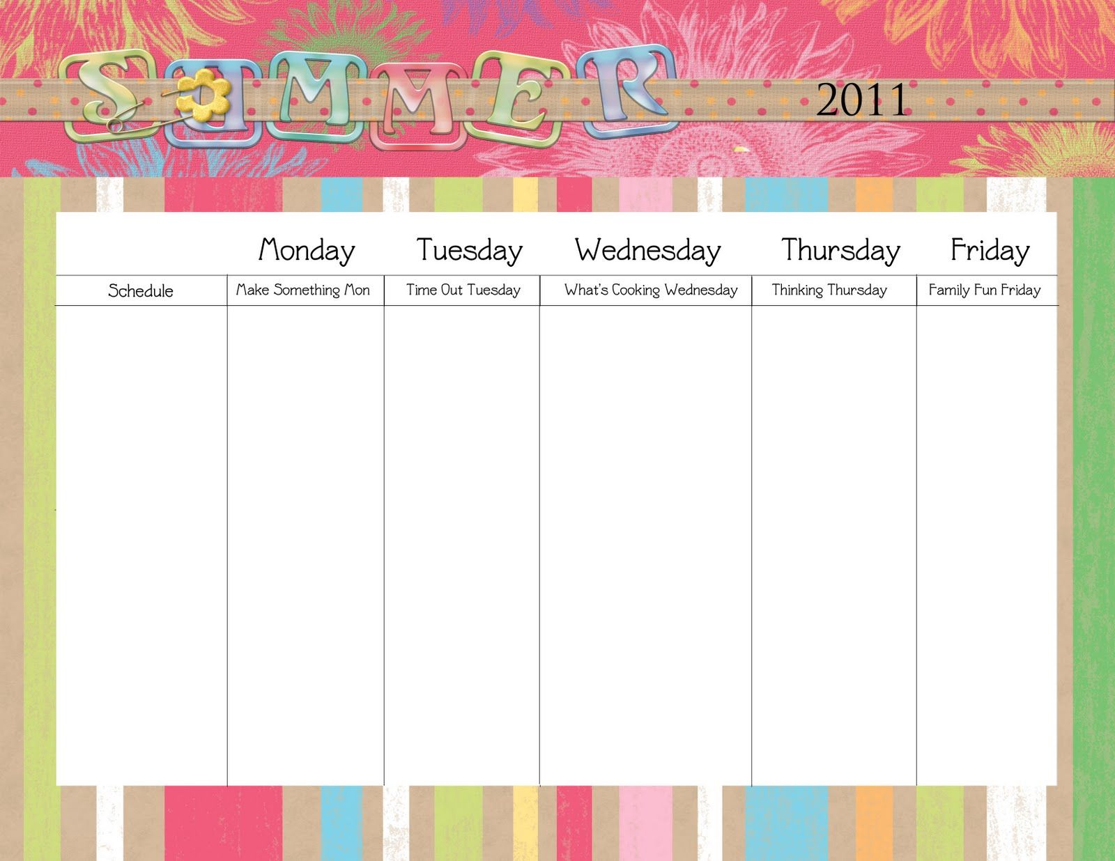 Blank Daily Schedule Template For Kids