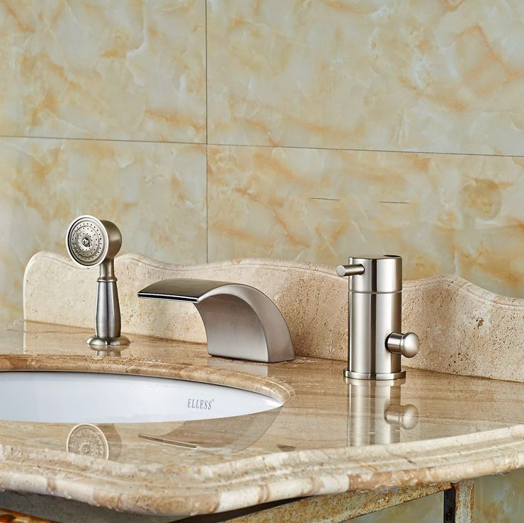 Widespread Brushed Nickle Tub Faucet Bathroom Sink Tap Mixer Faucet ...