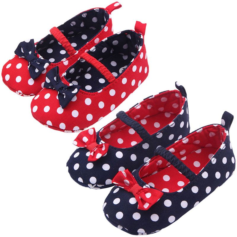 Mother & Kids First Walkers Baby Girl Soft Sole Shoes Dots Bowknot Toddler Anti-slip Shoes Newborn To
