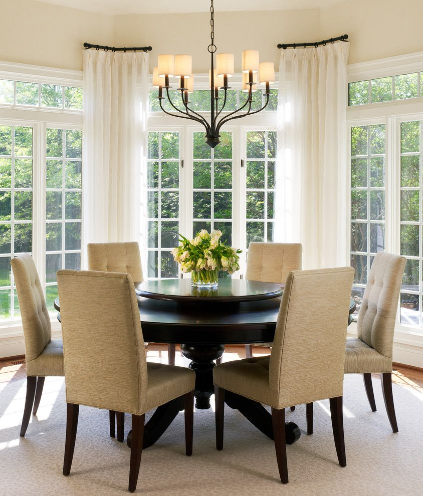 curtain rods for bay windows Dining Room Transitional with bay ...