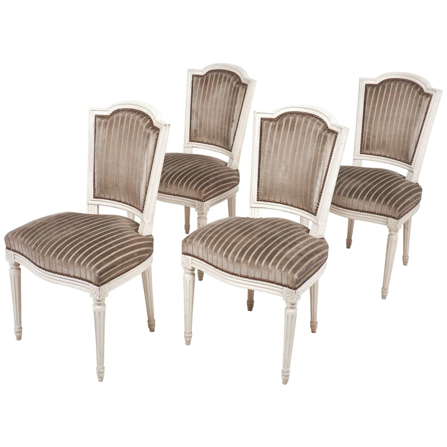 Antique louis xvi style dining chair set of four jean