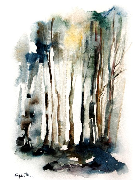 Abstract Forest Landscape Watercolor Art Print by ...