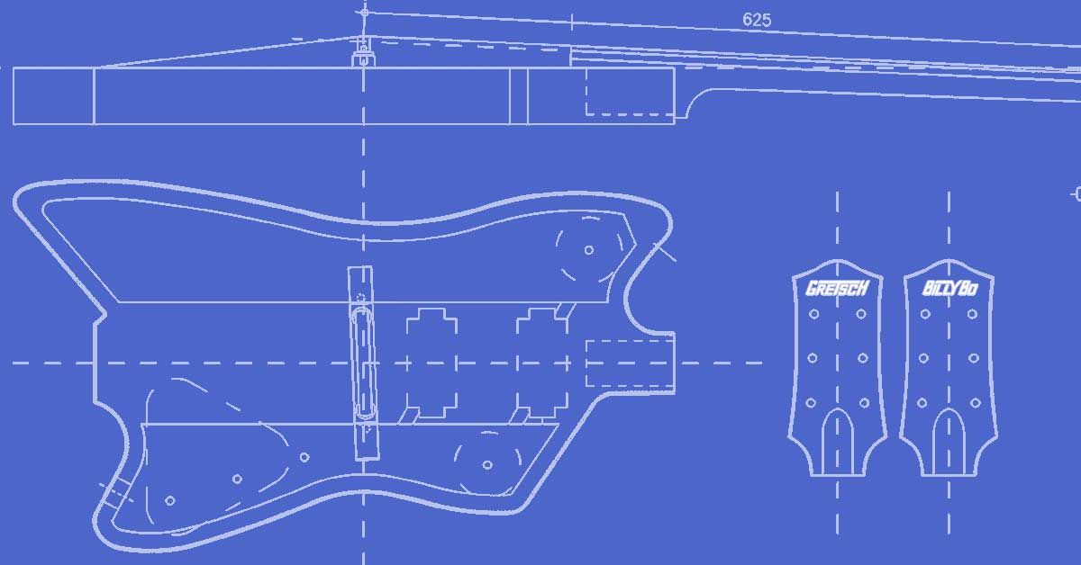 complete template for the gretsch billy-bo jupiter thunderbird guitar model  - perfect for custom builds and repairs