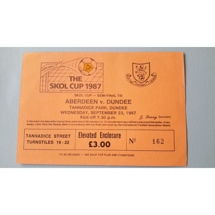 Aberdeen v Dundee Football Ticket Stub 23/09/1987 Skol Cup Semi Final Listing in the Scottish Club Leagues & Cups,Ticket Stubs,Football (Soccer),Memorabilia & Fan Store,Sport Memorabilia & Cards Category on eBid United Kingdom