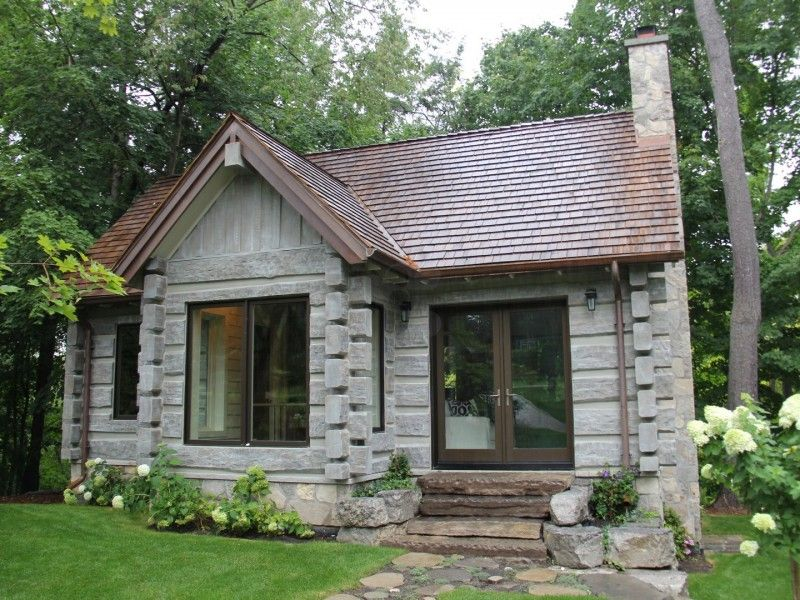 Toronto Canada Concrete Log Cabin Log Cabin Exterior Stone Cabin Log Homes Exterior