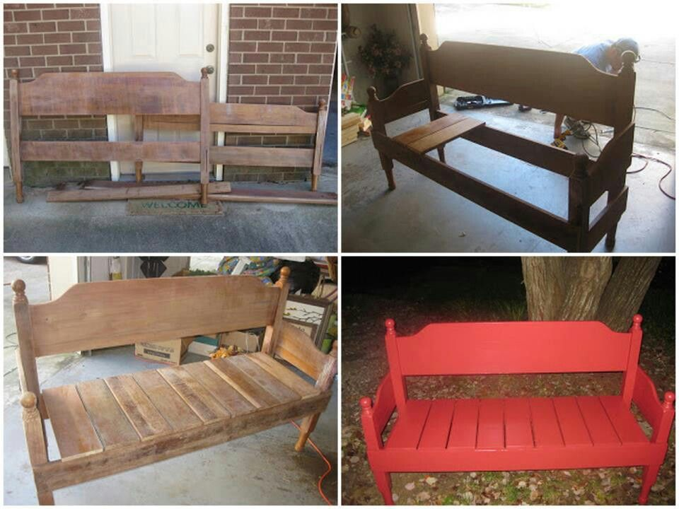 Cabecera de una cama reutilizada como banco | sillas | Pinterest ...