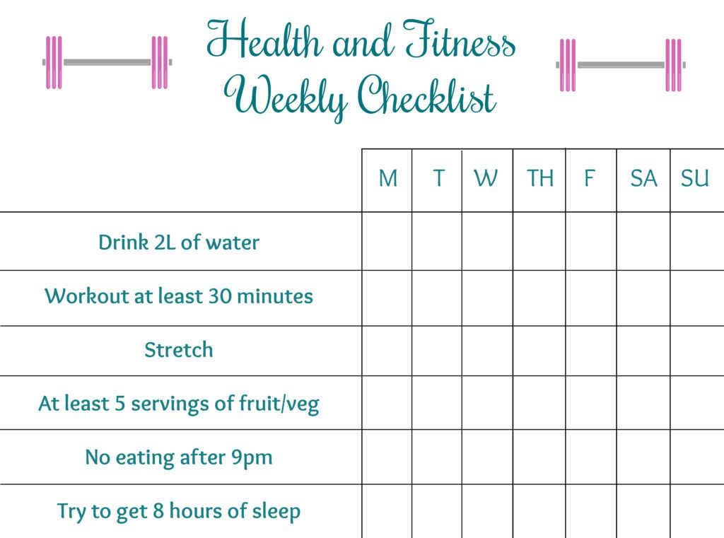 Health and Fitness Checklist A checklist to help you achieve your - weekly checklist