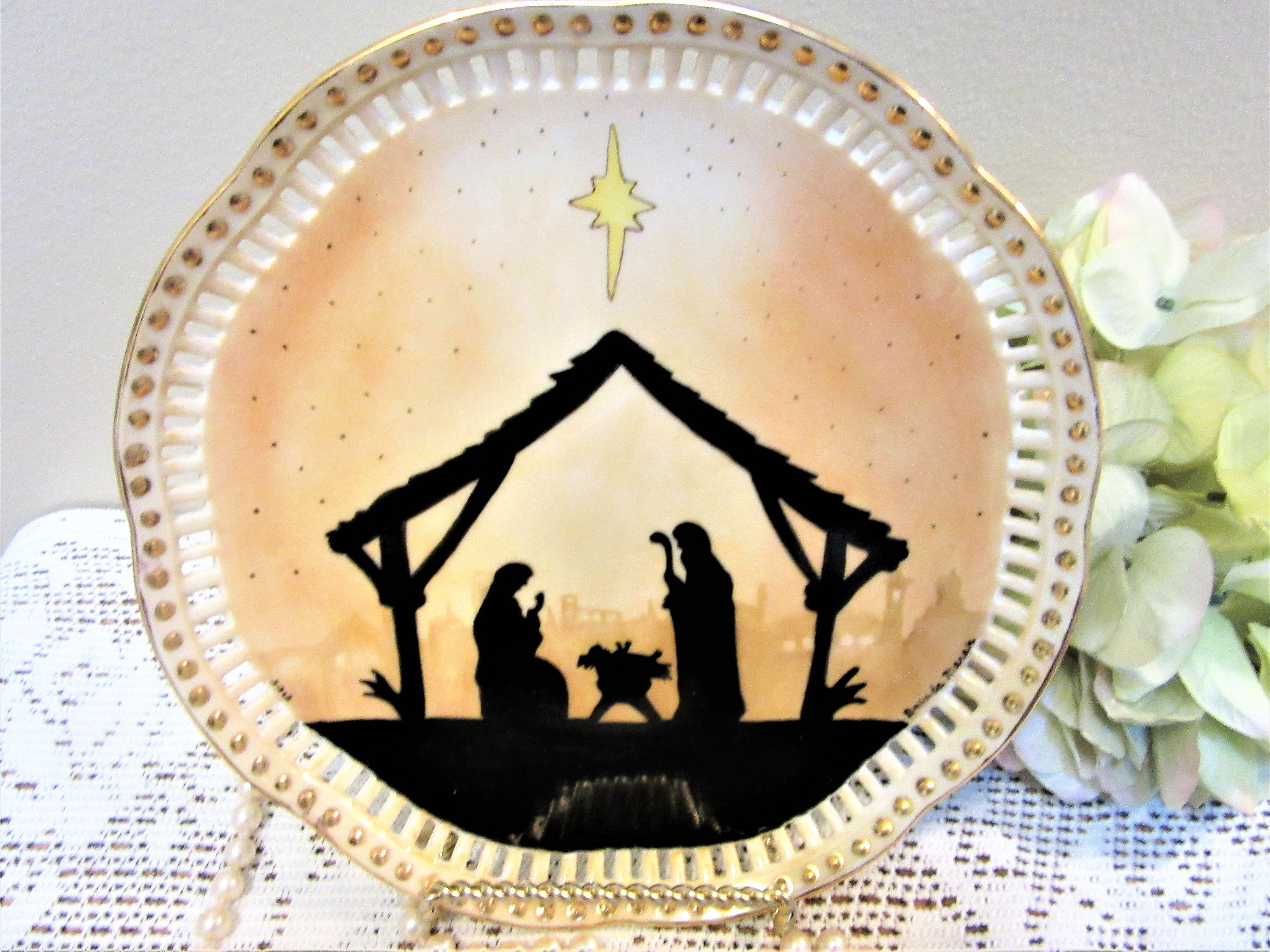 Plate Christmas Nativity Porcelain Wall Decor Easel or Serving ...
