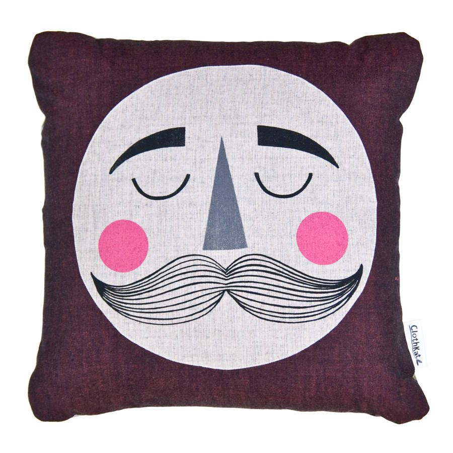 Moon With Moustache Cushion