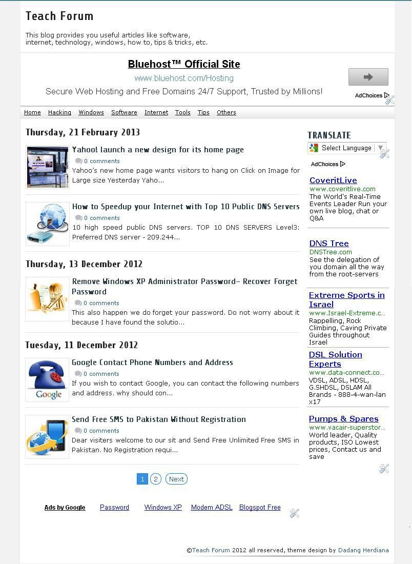 Teach Forum News Blogger Template Free Download Blogger