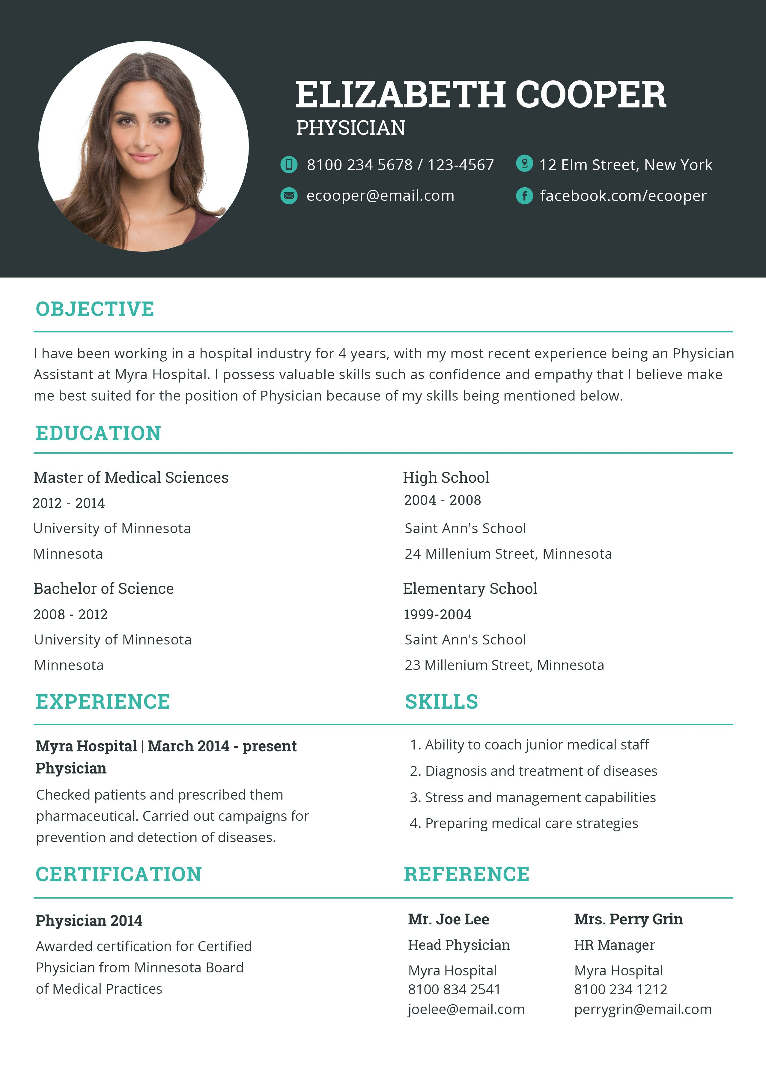 Physician Resume Cv Template Word Psd Indesign Apple Pages Illustrator Publisher Indesign Resume Template Resume Template Cv Template