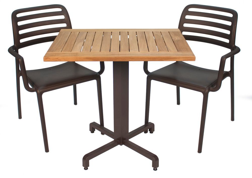 4 Piece Teak Bistro Set In Cafe Bistro Set