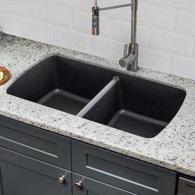 Ipt sink company quartz 3375 x 1894 double basin undermount ipt sink company quartz 3375 x 1894 double basin undermount kitchen sink with twist and lock strainer finish onyx black basin sinks and kitchens workwithnaturefo