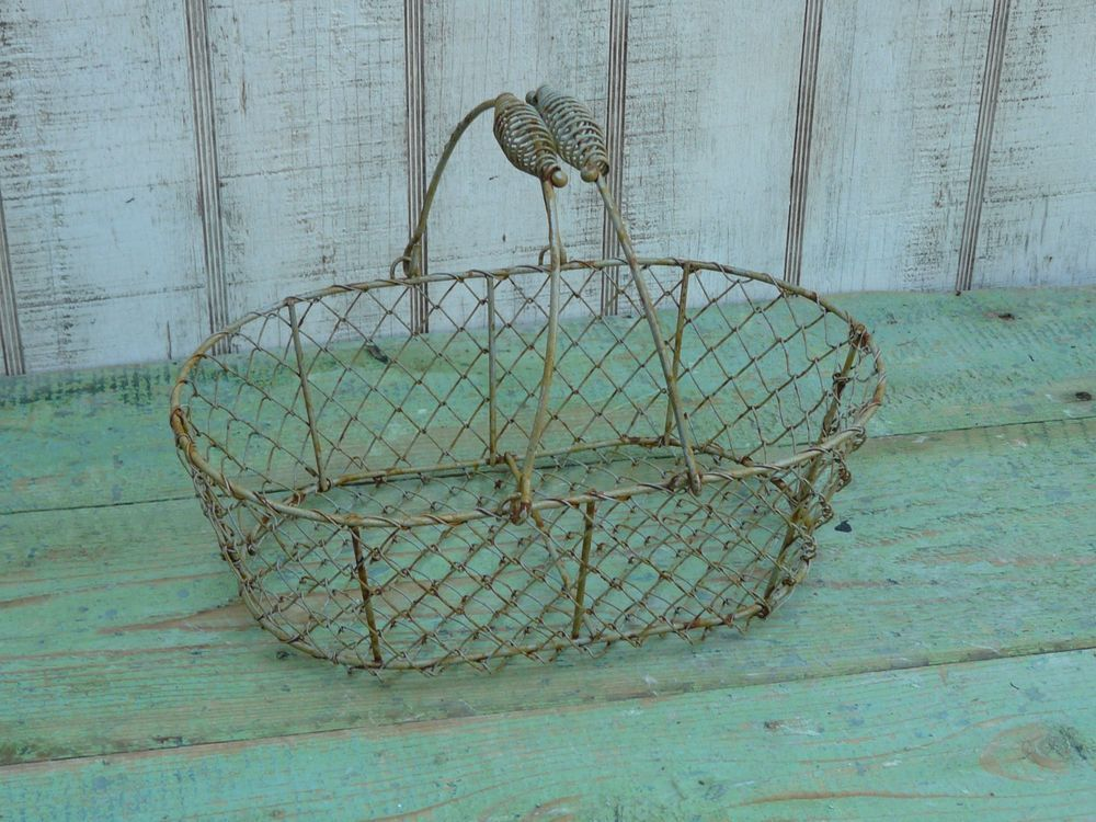 Primitive rustic large oval chicken wire basket farmhouse country ...