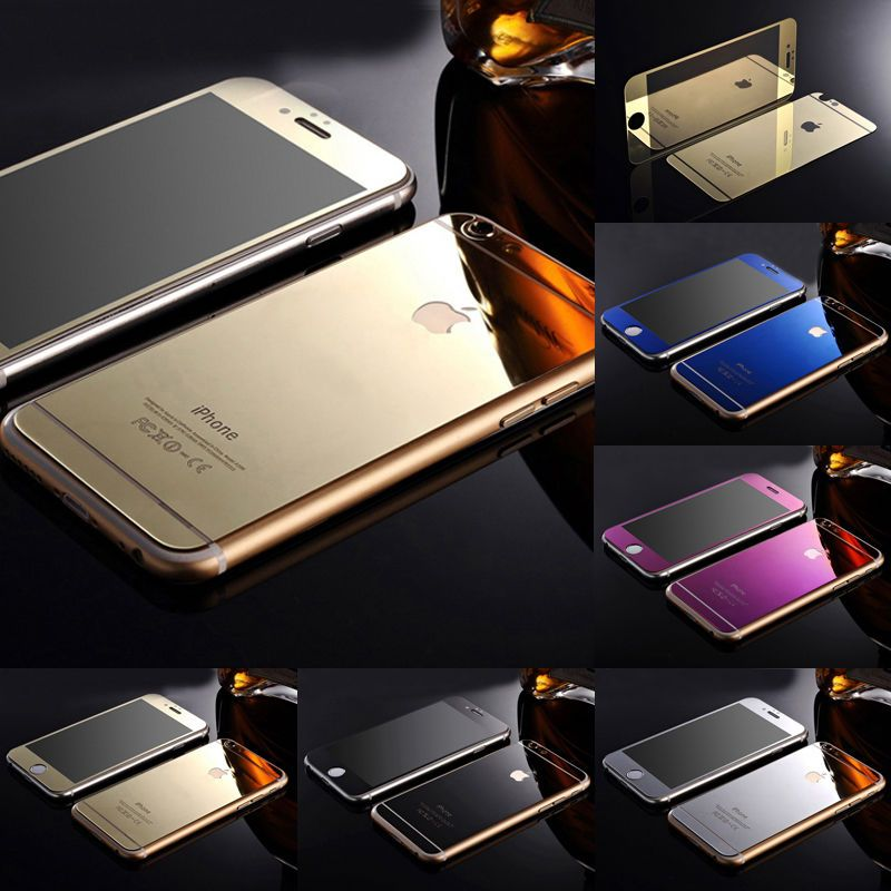 Gold mirror tempered glass frontback screen protector for
