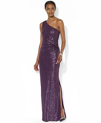 5a421aaa7e9 Lauren Ralph Lauren One-Shoulder Ruched Sequined Gown - Dresses - Women -  Macy s