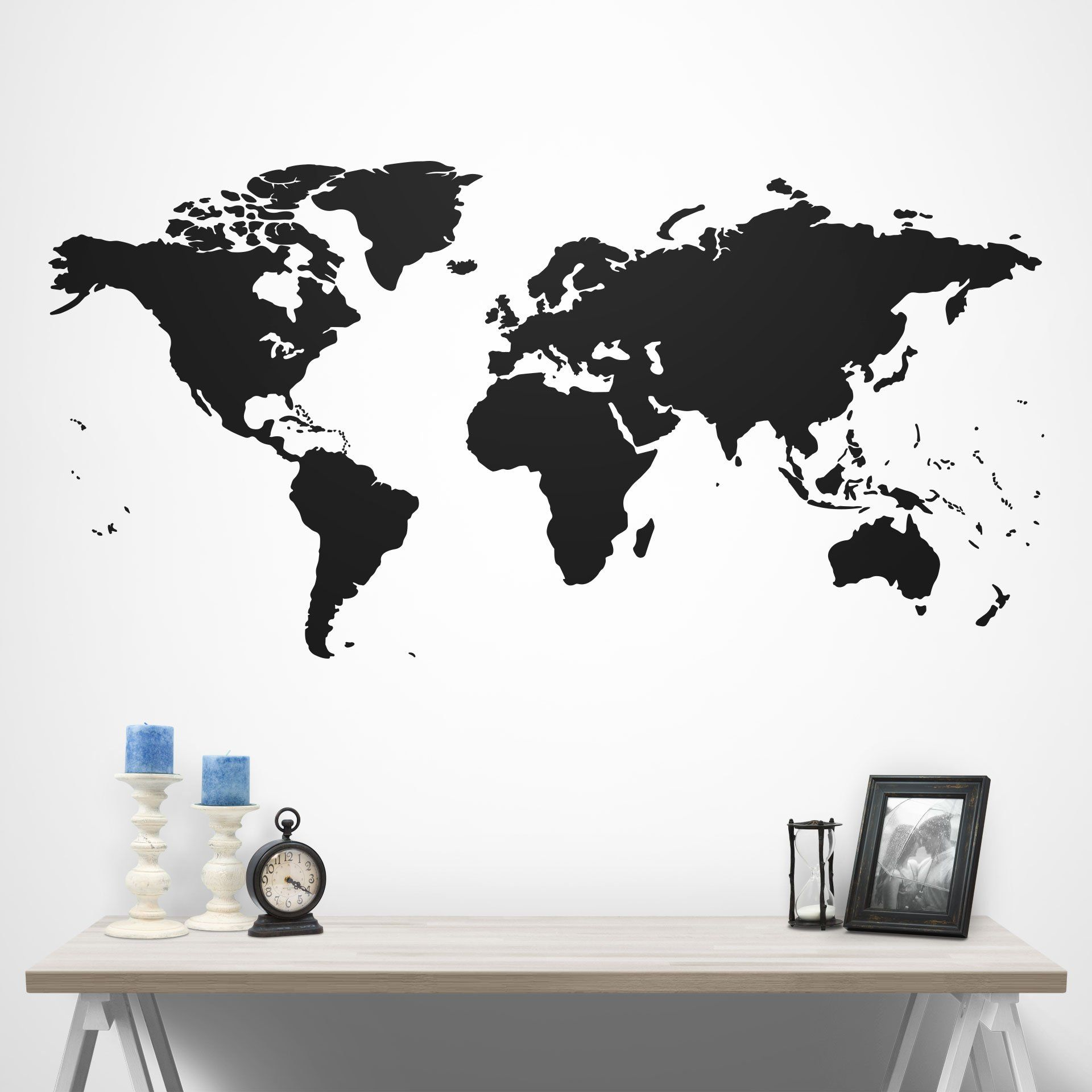 Map Of The World Decal.World Map Silhouette Vinyl Wall Decal In 2019 Conquest Maps