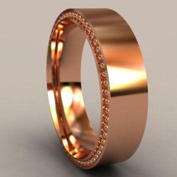 Rose Gold 6mm Mens Wedding Band Recessed Beading Designer Mens