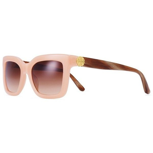 Tory Burch Reva Split-Hinge Square Sunglasses (655 SAR) ❤ liked on Polyvore featuring accessories, eyewear, sunglasses, gradient lens sunglasses, tory burch, tory burch glasses, orange sunglasses and acetate sunglasses
