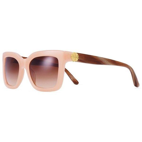 Tory Burch Reva Split-Hinge Square Sunglasses (655 SAR) ❤ liked on Polyvore featuring accessories, eyewear, sunglasses, gradient lens sunglasses, tory burch, tory burch glasses, orange sunglasses and acetate sunglasses