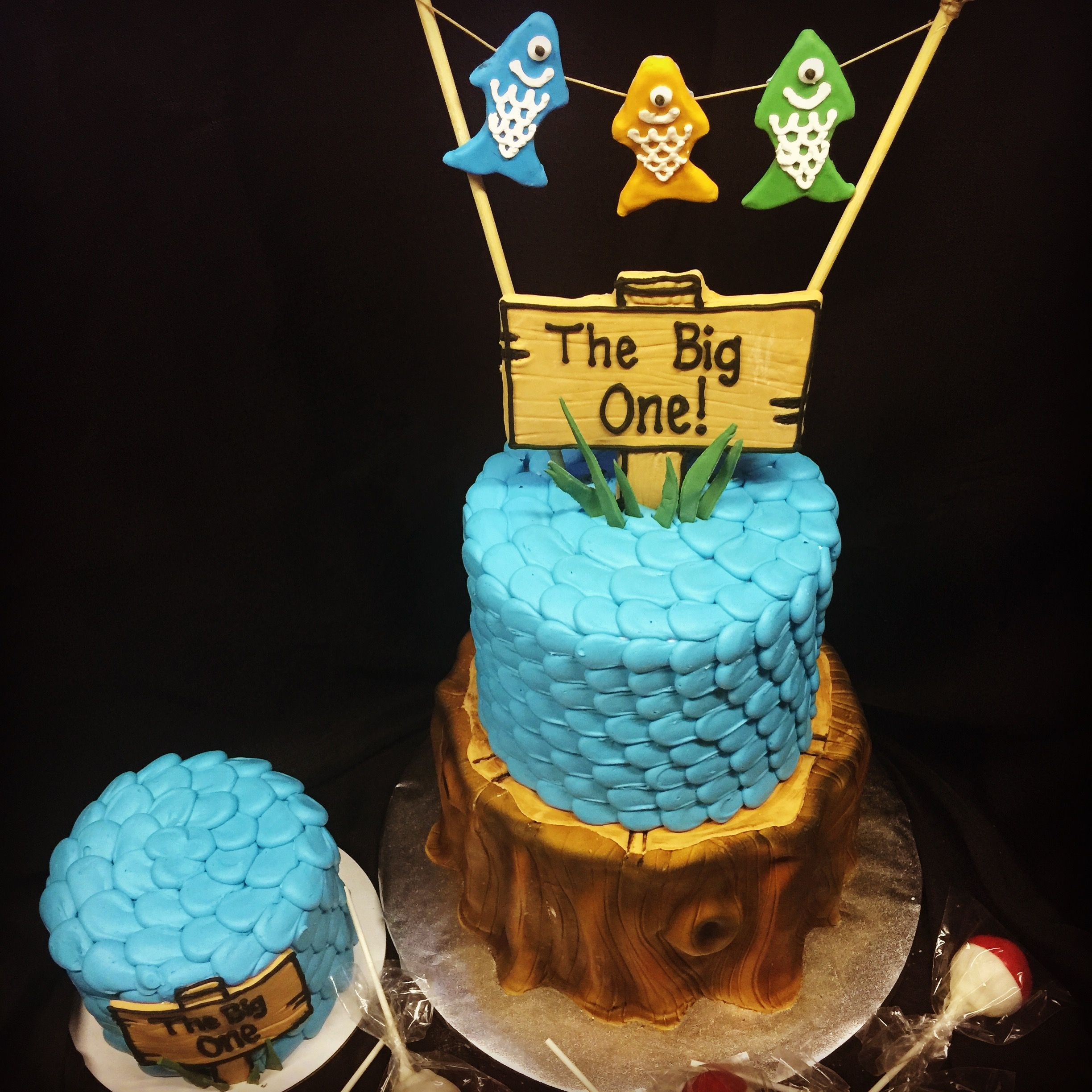 The Big One Cake Fishing First Birthday Tree Trunk Wood