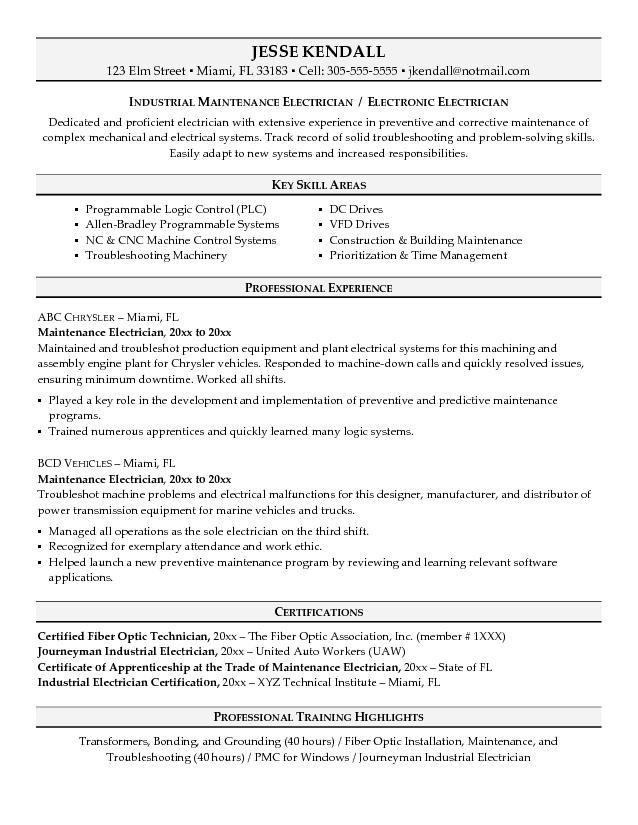 Maintenance Resume Sample Freecareer Resume Template Career Resume Template Marketing