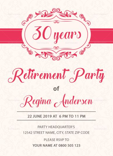 Sample Retirement Party Invitation Template  Invitation Card
