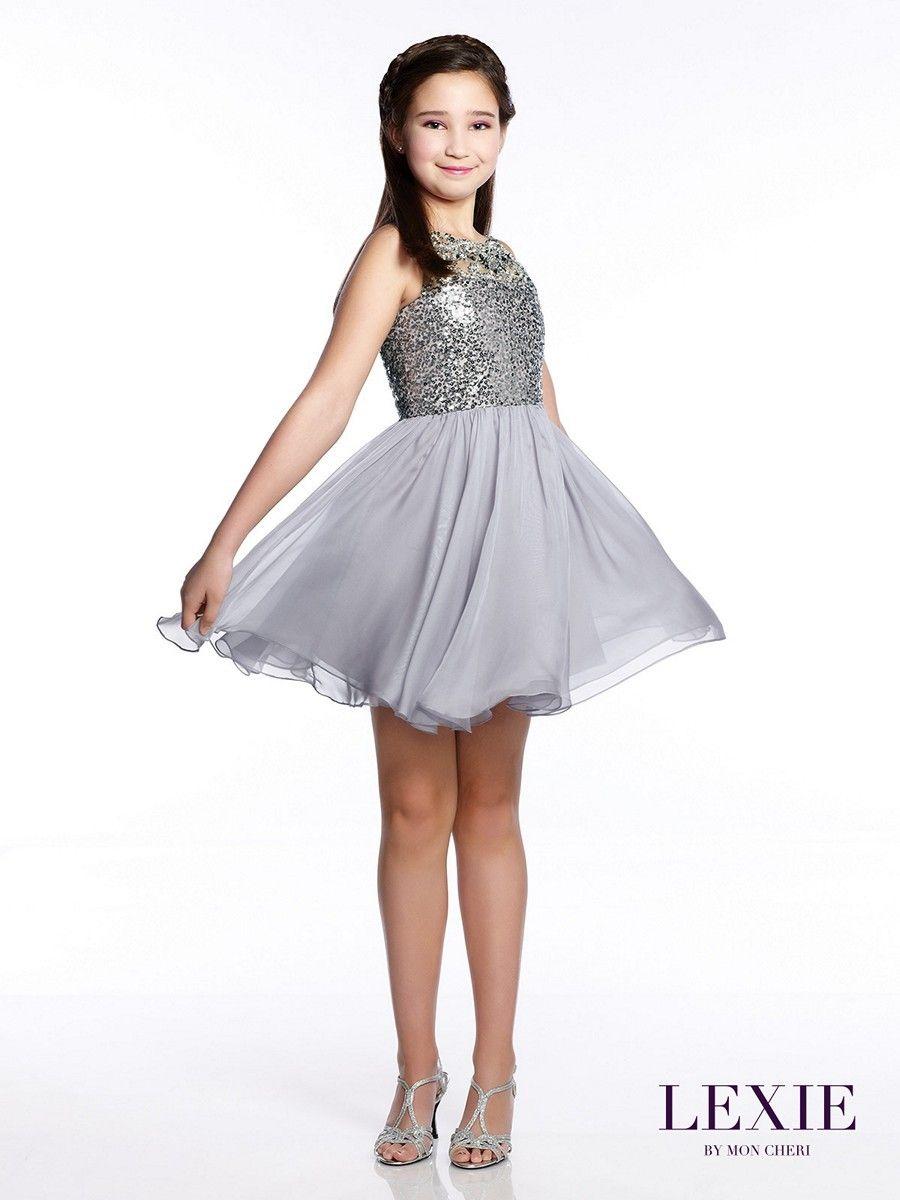 The Lexie by Mon Cheri TW21542 junior party dress has a classic A ...