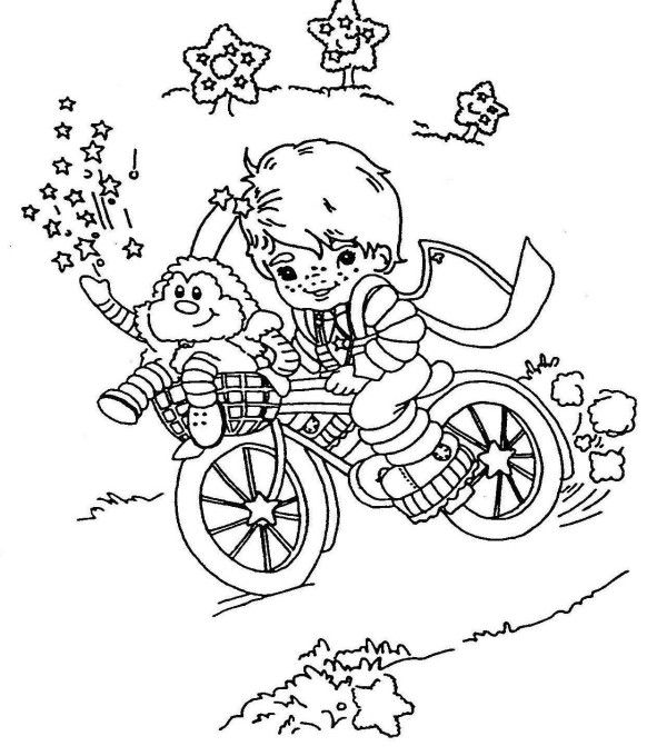 Rainbow Brite Play Bike In The Garden Coloring Page For Kids With