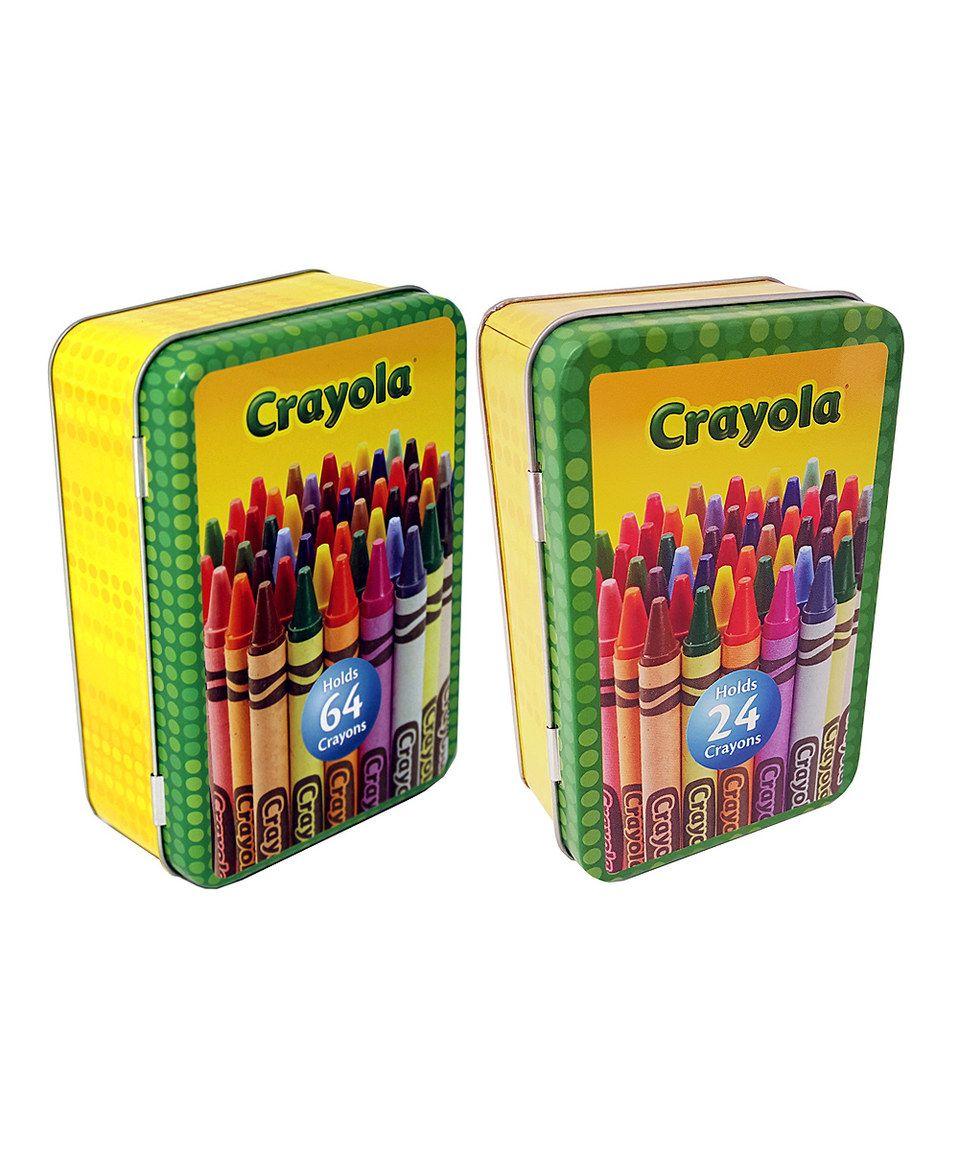 Look what I found on #zulily! Small & Medium Crayon Storage Tin Set by Crayola #zulilyfinds