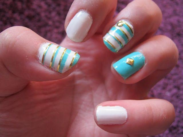 Label22 - studs and stripes nail art | Nail Art | Pinterest