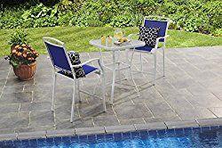 Mainstays Sand Dune 3 Piece Outdoor High Bistro Set Seats 2 Blue Outdoor Patio Furniture Sets Outdoor Bistro Set Outdoor Patio Set