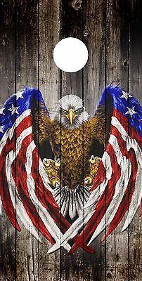SINGLE Cornhole Board- Bag Toss wrap- VINYL DECAL- AMERICAN FLAG- BALD EAGLE | eBay