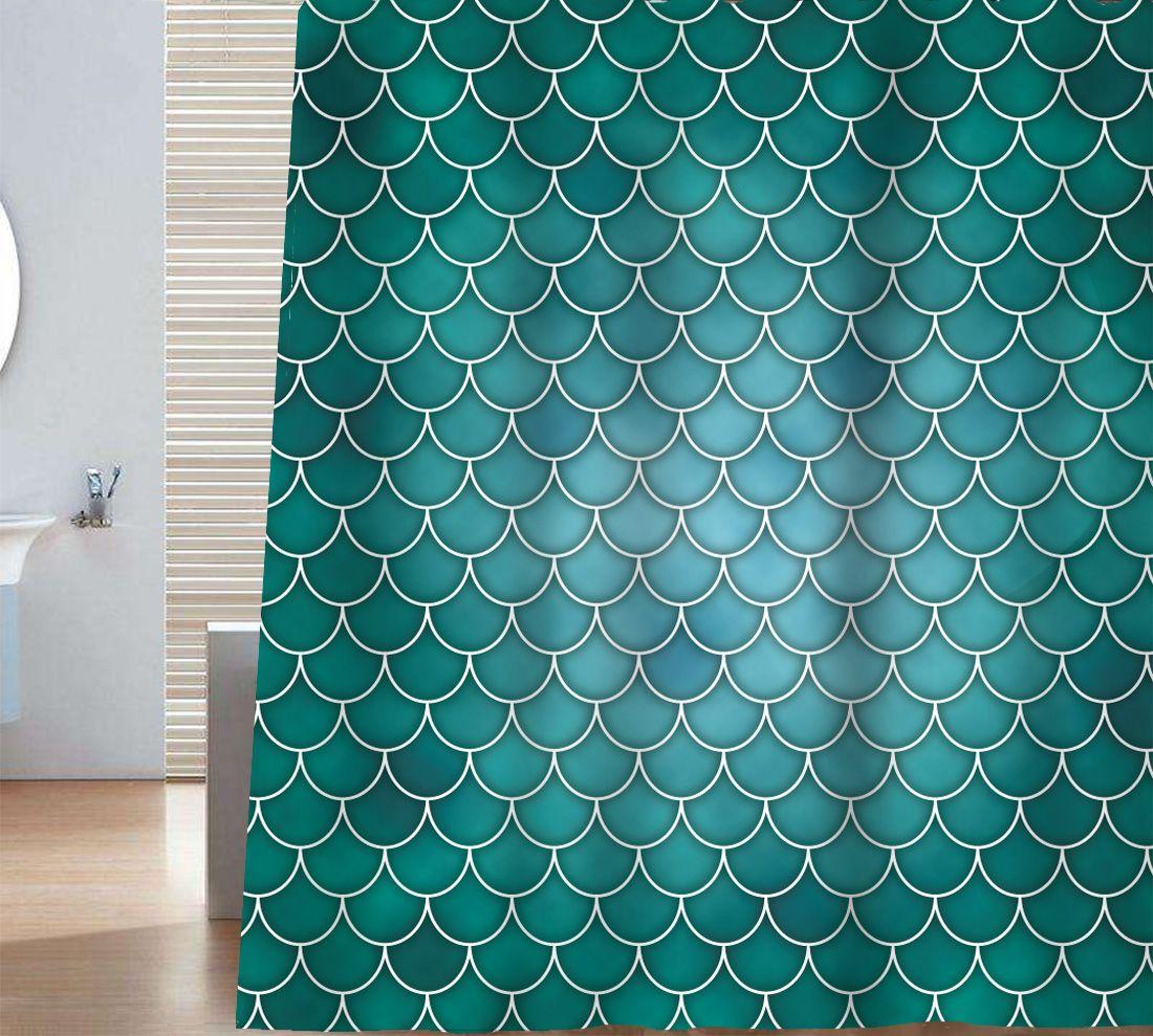 Sunlit Designer Mermaid Tail Scale Geometric Shower Curtain