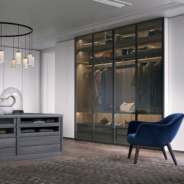 Contemporary Wardrobe / Glass / Aluminum / Melamine FITTED Poliform