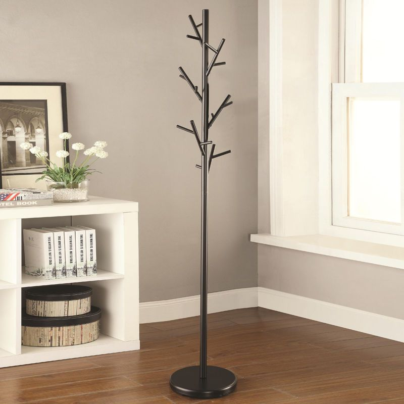 Modern Black Metal Multiple Hall Tree Branches Hooks Coat Hat Rack