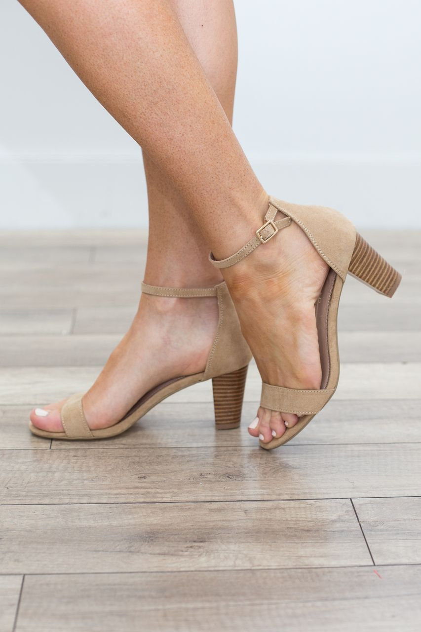 Faux Suede Simple Strap Heel - Tan - Magnolia Boutique
