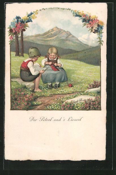 """carte postale ancienne: CPA Illustrateur Pauli Ebner: """"Der Peterl et s'Lieserl"""" des enfants beim Häkeln et Lesen auf der Alm"""