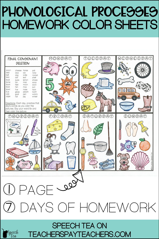 Phonological Processes Homework Color Sheets