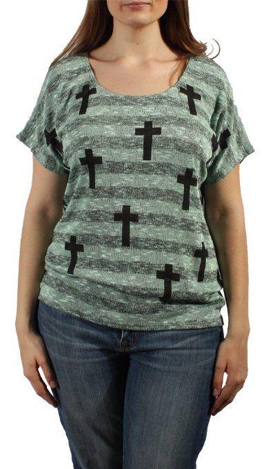 Amazon.com: Plus-size Cross Print Knit Top (2X, Mint): Clothing