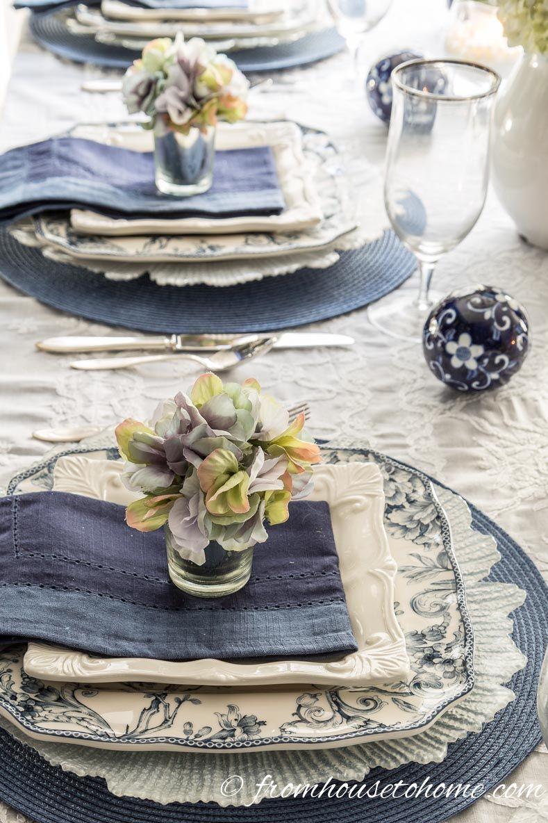 Hydrangea-Inspired Blue and White Table Setting   Tischdeko, Tisch ...
