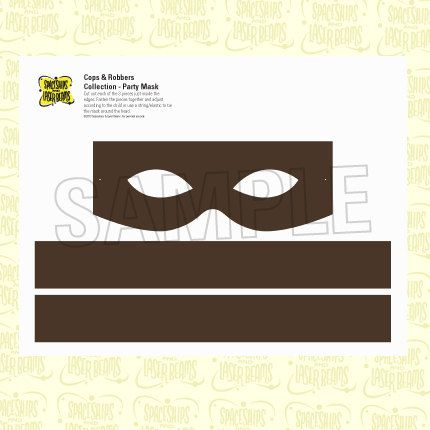 Police Party Robber Mask From The Cops And Robbers DIY Printable Birthday Collection By Spaceships Laser Beams