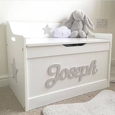 S Boys Wooden Personalised Children Toy Box Storage Chest Nursery