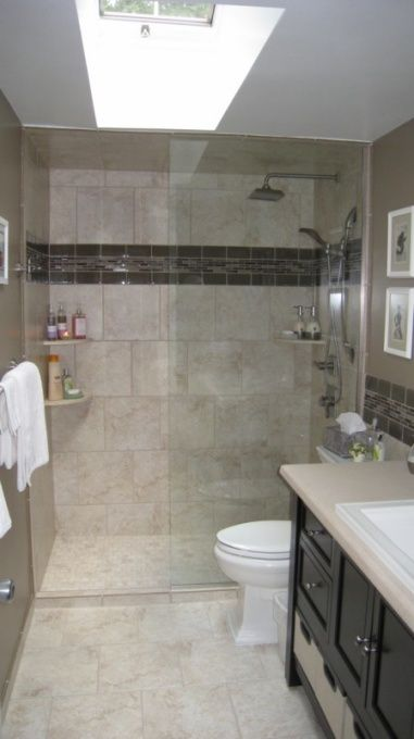 Small bath remodel it even looks a lot like mine! sky light and all ...