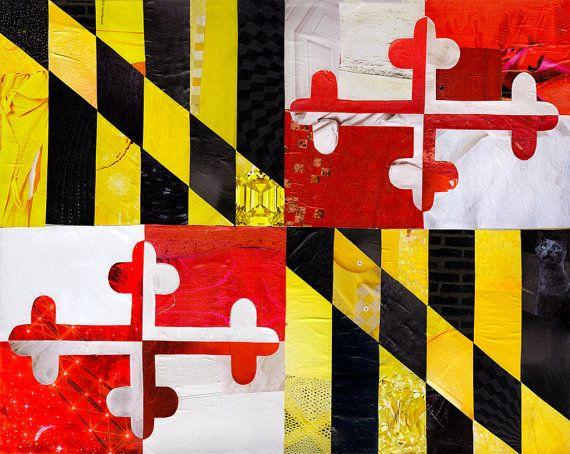 Maryland Gift Maryland Flag Maryland Wall Art Baltimore Etsy Collage Art Mixed Media Maryland Flag Art