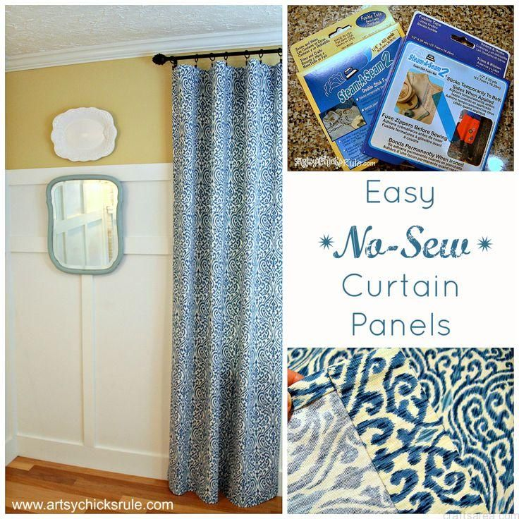 Easy, No Sew Curtain Panels - Artsy Chicks Rule #nosew...