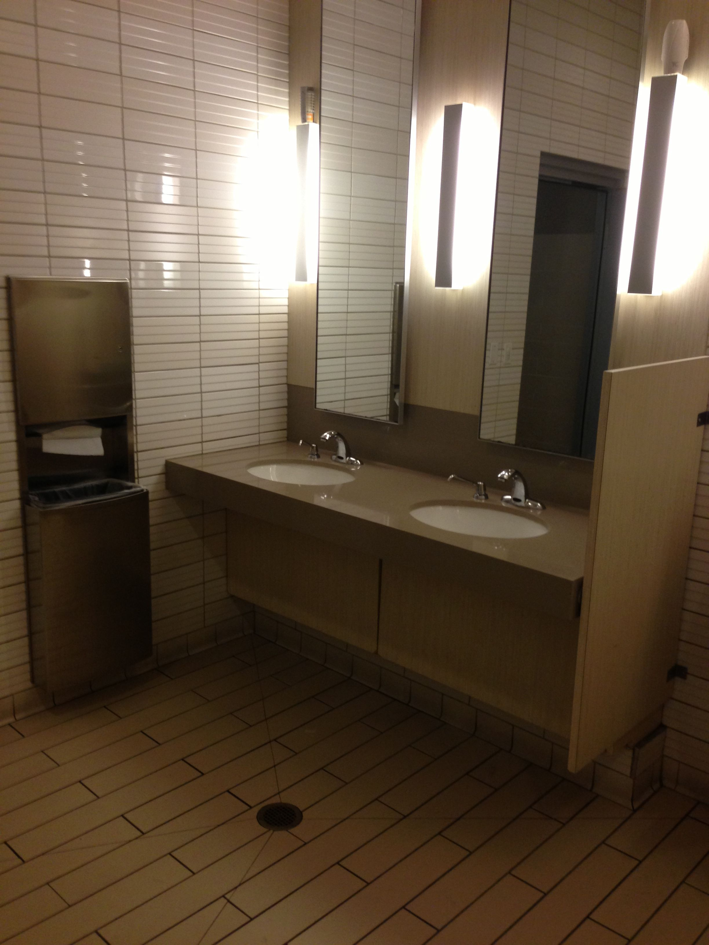 I always like a bathroom design which provides for open access underneath for wheelchairs.