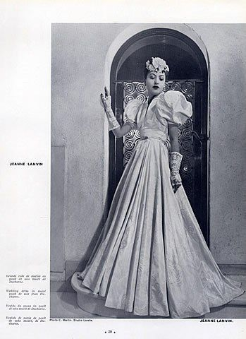 Jeanne Lanvin 1940 Wedding Dress, Fashion Photography C.Martin ...