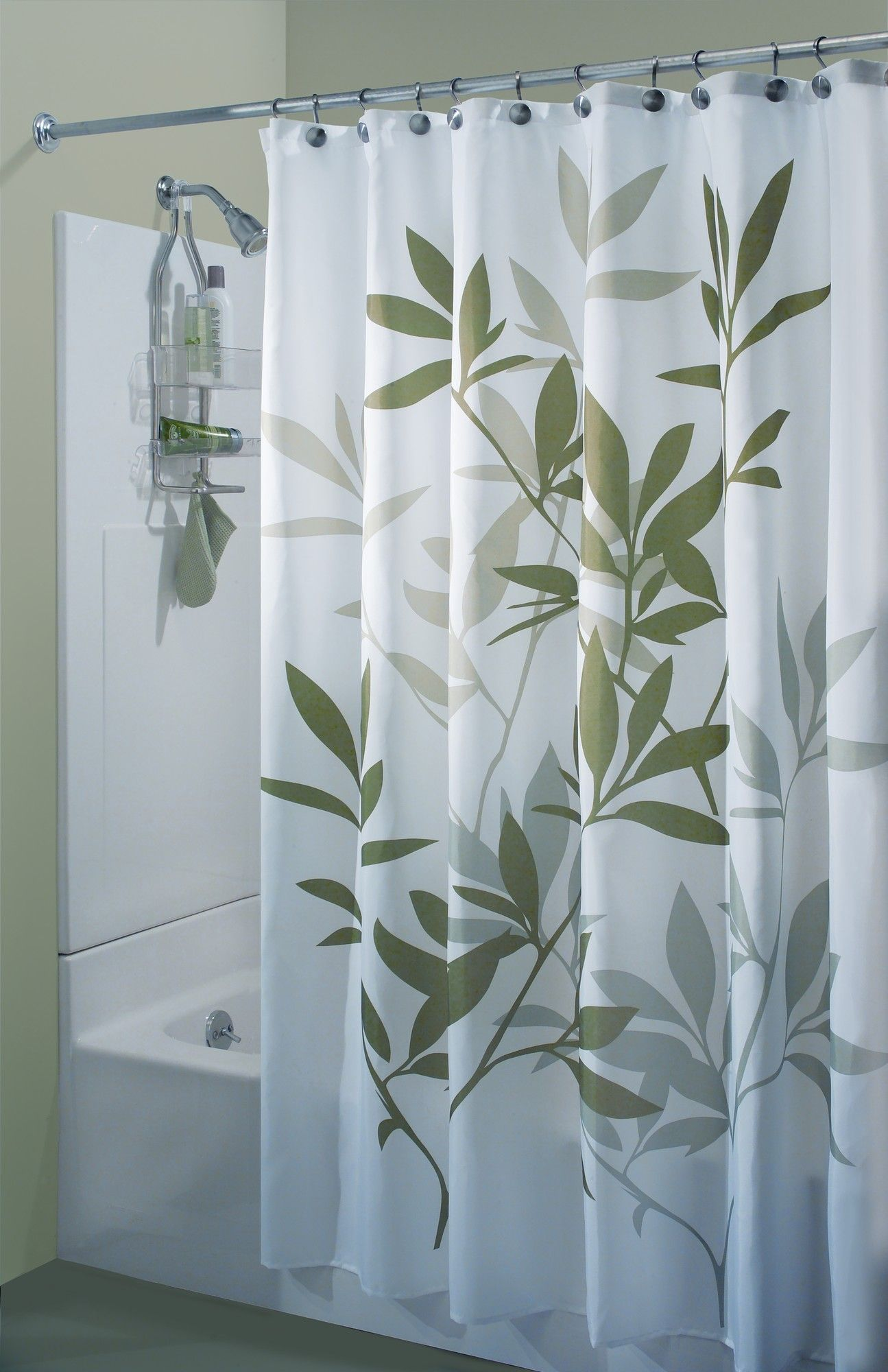Interdesign Leaf Print Shower Curtain Fabric Shower Curtains